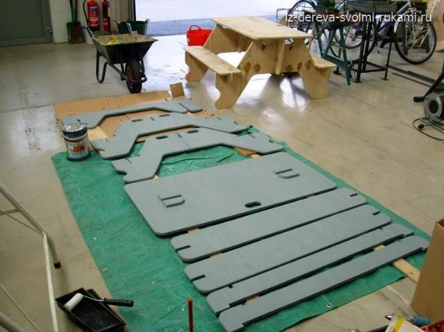 как сделать стол со скамейками своими руками