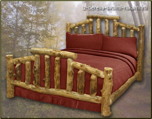 деревянная кровать из бревен своими руками