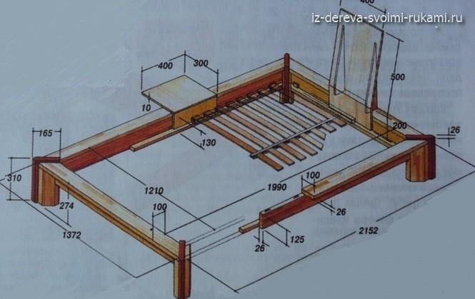 деревянная кровать своими руками чертеж