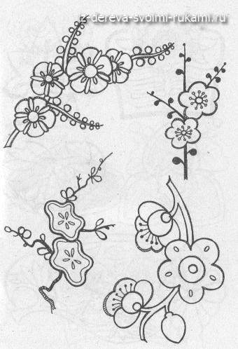 картинки и эскизы для выжигания по дереву: цветы, злаки, фрукты, ягоды