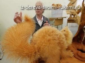 скульптуры животных из стружек и опилок Сергея Бобкова