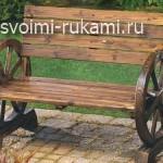 деревянные необычные дачные скамейки
