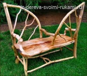 необычные дачные скамейки из дерева, фото