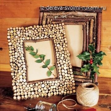 декор рамки для фото спилами дерева