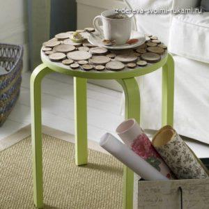 поделки из спилов дерева, декор журнального столика