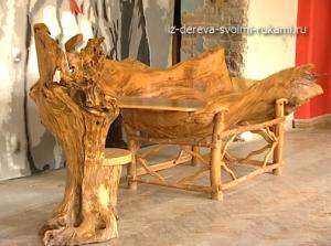 авторская мебель из дерева и коряг природной формы