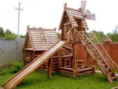 Детские площадки из дерева для любимых детишек