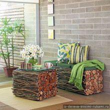 Интересная мебель из веток, фанеры и спилов