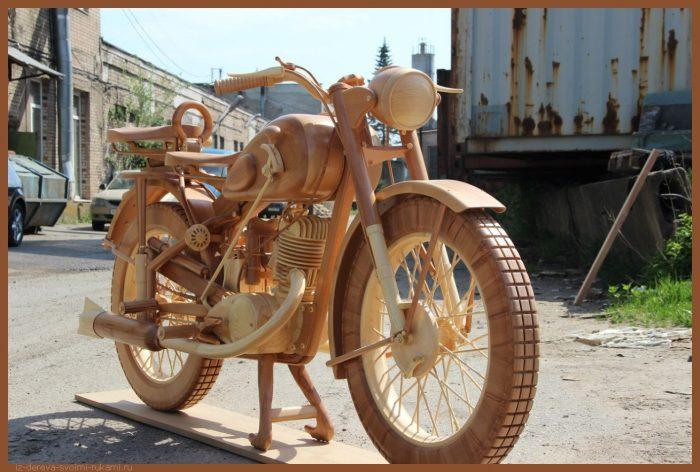 49 00013 - Из дерева своими руками! Интересные деревянные поделки, мебель, мастер-классы по дереву - Мотоцикл ИЖ-49 из дерева, 40 фотографий и видео