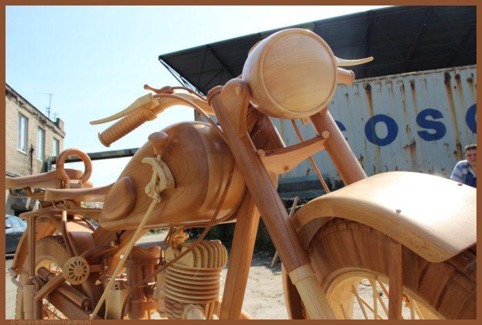 49 00015 - Из дерева своими руками! Интересные деревянные поделки, мебель, мастер-классы по дереву - Мотоцикл ИЖ-49 из дерева, 40 фотографий и видео
