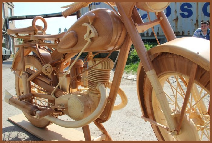 49 00016 - Из дерева своими руками! Интересные деревянные поделки, мебель, мастер-классы по дереву - Мотоцикл ИЖ-49 из дерева, 40 фотографий и видео