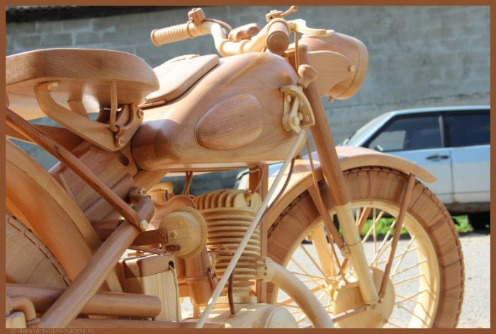 49 00036 - Из дерева своими руками! Интересные деревянные поделки, мебель, мастер-классы по дереву - Мотоцикл ИЖ-49 из дерева, 40 фотографий и видео