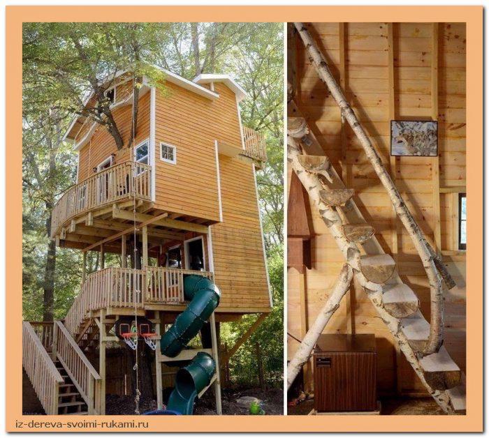 UMlZVFnT G8 - Из дерева своими руками. Мастер-классы по дереву - Дедушка построил 3-этажный дом на дереве для своих внуков, 5 фото